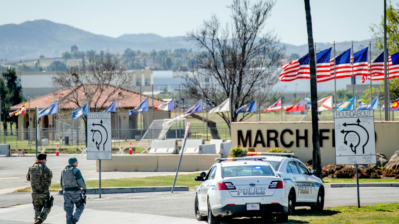 February 11, 2020, Riverside, California, USA: March Air Reserve Base Police patrol the entrance area next to the visitor center near Moreno Valley on Tuesday, Feb. 11, 2020 where 195 evacuees from China ended their two-week quarantine for coronavirus outbreak.