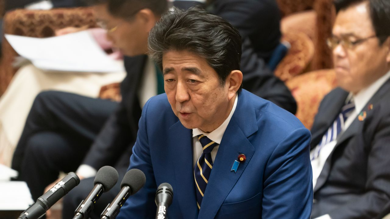 Shinzo Abe, February 17, 2020 : Japanese Prime Minister Shinzo Abe answers to a question during Lower House budget committee session at the National Diet in Tokyo, Japan. (Photo by Motoo Naka/AFLO)
