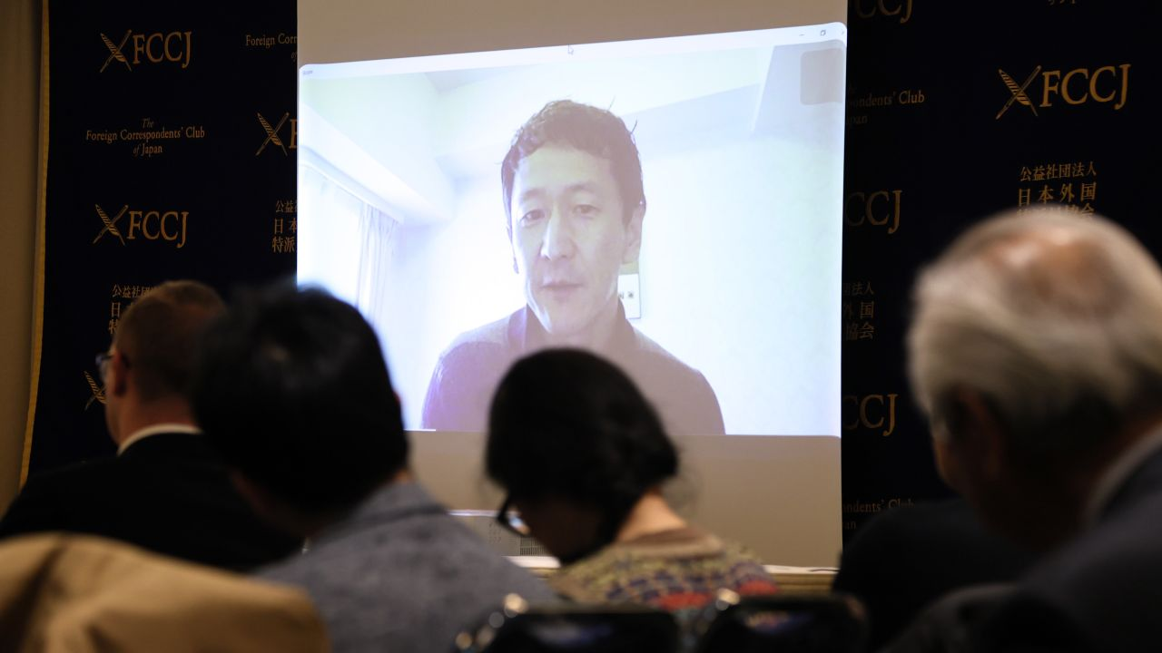 February 20, 2020, Tokyo, Japan - Japan's infectious disease expert Kobe University Hospital professor Kentaro Iwata speaks on a screen as he holds a press conference via Skype at the Foreign Correspondents' Club of Japan in Tokyo on Thursday, February 20, 2020. He posted a TouTube video criticizing the situation on a novel coronavirus hit cruise ship Diamond Princess after he boarded the ship. (Photo by Yoshio Tsunoda/AFLO)