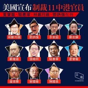 The 11 HK & PRC Officials under US financial sanction