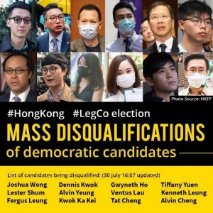 List of candidates being disqualified