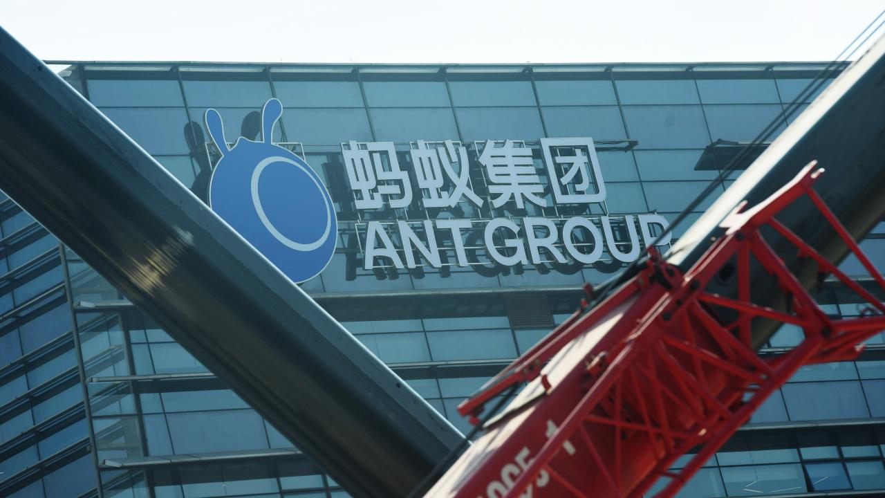 A view of the signage of Ant Group in the headquarters compound of the fintech giant in Hangzhou in east China's Zhejiang province Wednesday, Nov. 04, 2020. China pulled back the IPO of Ant Group two days ahead of its listing in Shanghai and Hong Kong as a recent microloan regulation will affect its core business. (Photo provided by : Featurechina/アフロ)