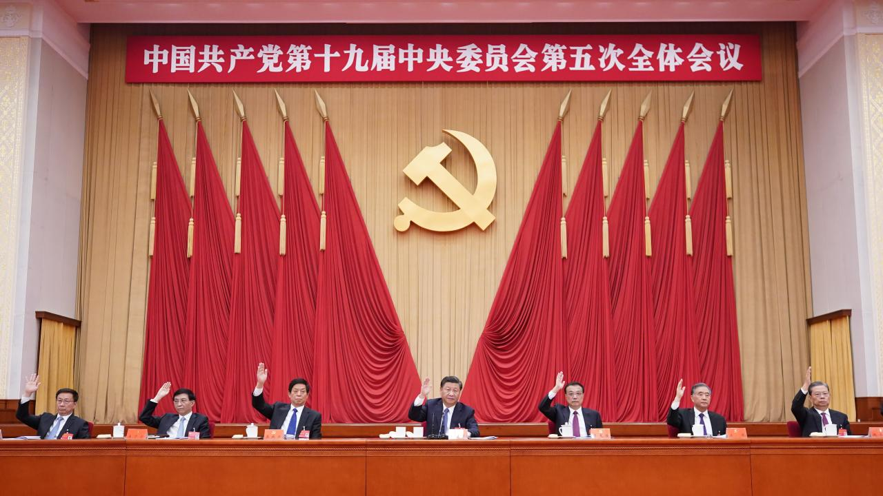 Xi Jinping, Li Keqiang, Li Zhanshu, Wang Yang, Wang Huning, Zhao Leji and Han Zheng attend the fifth plenary session of the 19th Central Committee of the Communist Party of China (CPC) in Beijing, capital of China. The session was held in Beijing from Oct. 26 to 29, 2020. (Xinhua/Wang Ye)