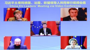Chinese President Xi Jinping meets with German Chancellor Angela Merkel, French President Emmanuel Macron, President of the European Council Charles Michel and President of the European Commission Ursula von der Leyen via video link in Beijing, capital of China, Dec. 30, 2020. During the meeting, Xi and the European leaders announced that the two sides have completed investment agreement negotiations as scheduled. (Xinhua/Ding Lin)