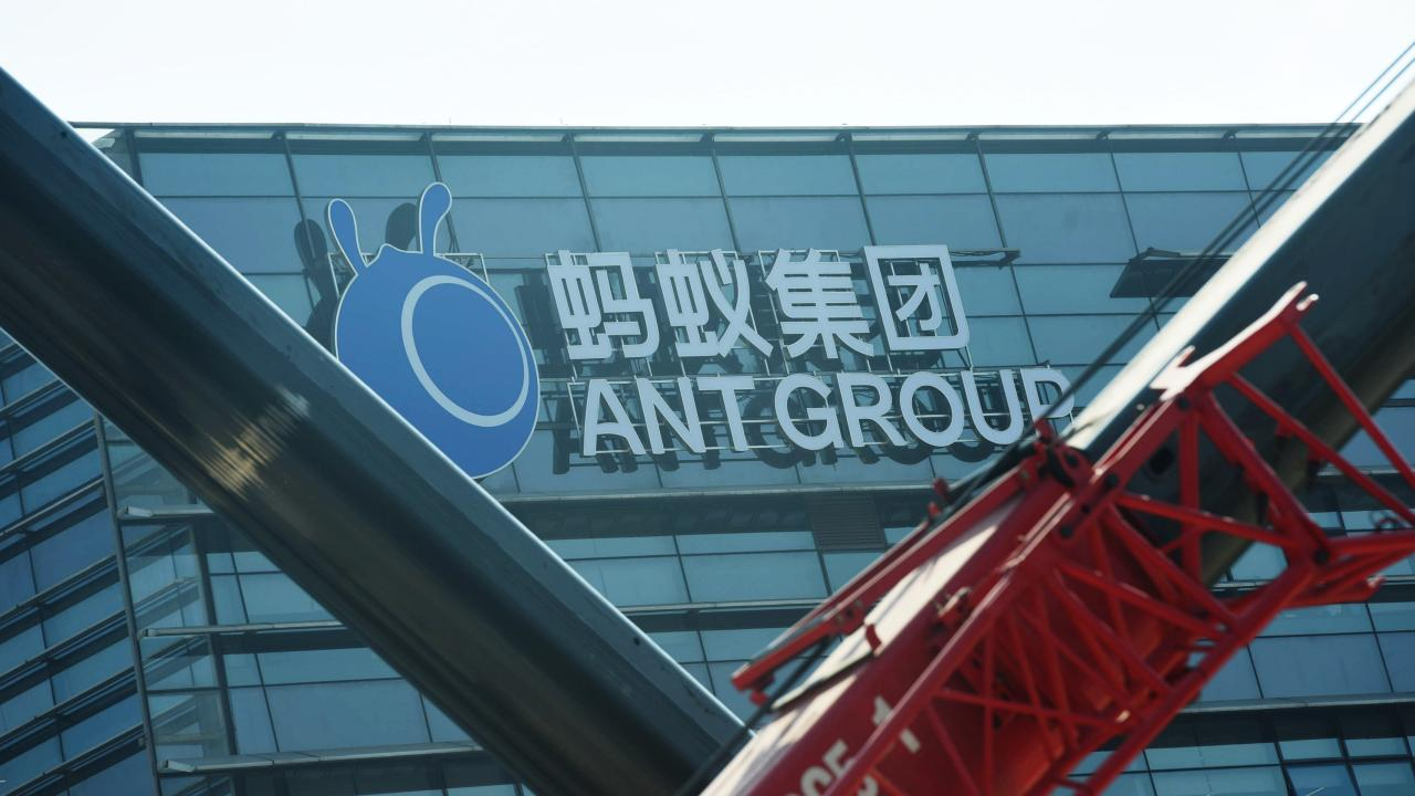 A view of the signage of Ant Group in the headquarters compound of the fintech giant in Hangzhou in east China's Zhejiang province Wednesday, Nov. 04, 2020. China pulled back the IPO of Ant Group two days ahead of its listing in Shanghai and Hong Kong as a recent microloan regulation will affect its core business. (Photo:Featurechina/アフロ)