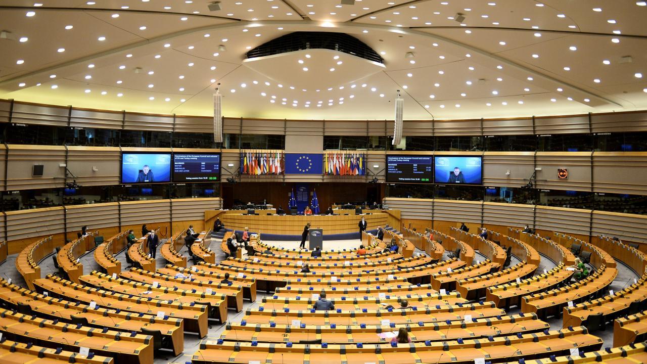 European Council President Charles Michel and European Commission President Ursula von der Leyen attend the EU Parliament plenary session in Brussels, Belgium April 26, 2021. REUTERS/Johanna Geron (Belgium)