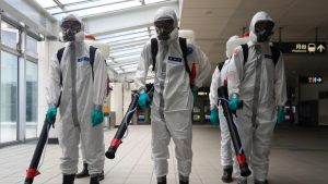 May 26, 2021, Taipei, Taipei, Taiwan: Military disinfections in public areas and transportations across Taipei and New Taipei have beefed up, following an increasing number of domestic Covid-19 cases. Taiwan Center for Disease Control on Wednesday reported 304 new domestic cases, 331 adjusted cases, and 11 deaths while facing inadequate vaccines supply in the face of the ongoing community transmission. (Credit Image: © Daniel Ceng Shou-Yi/ZUMA Wire)