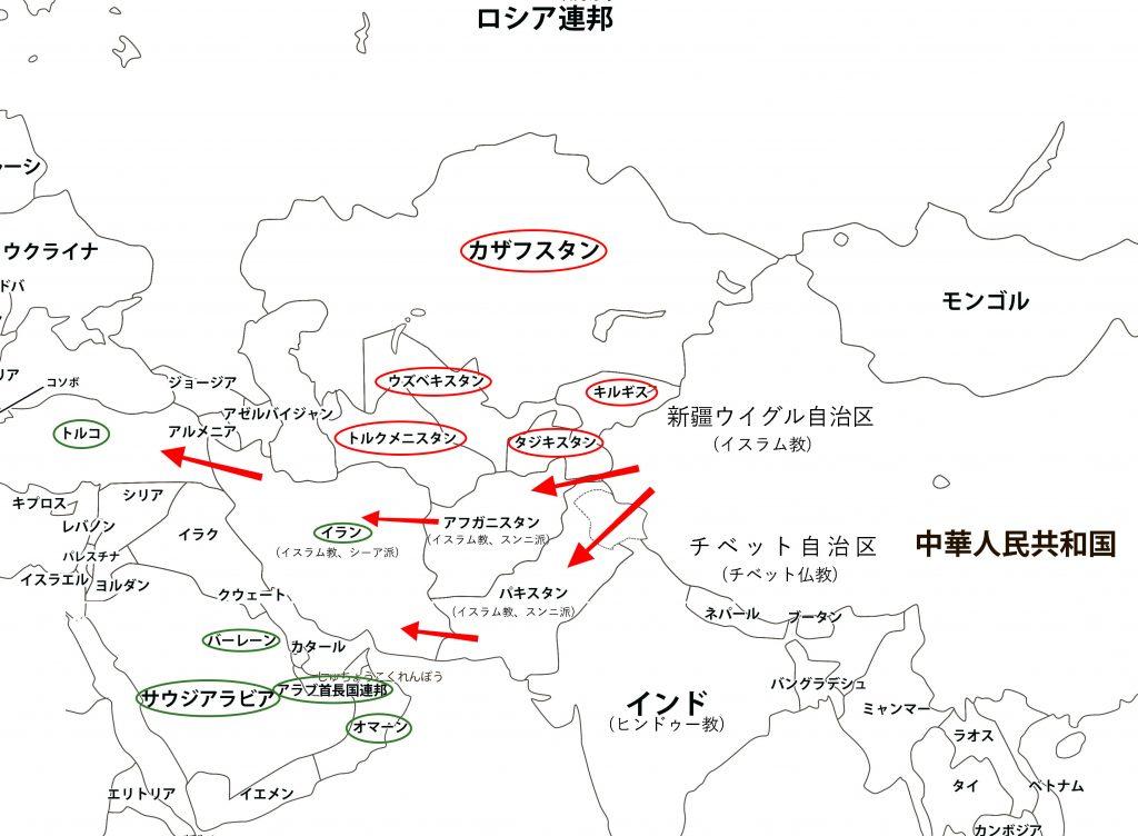 白地図に筆者が現状を書き込んで作成した