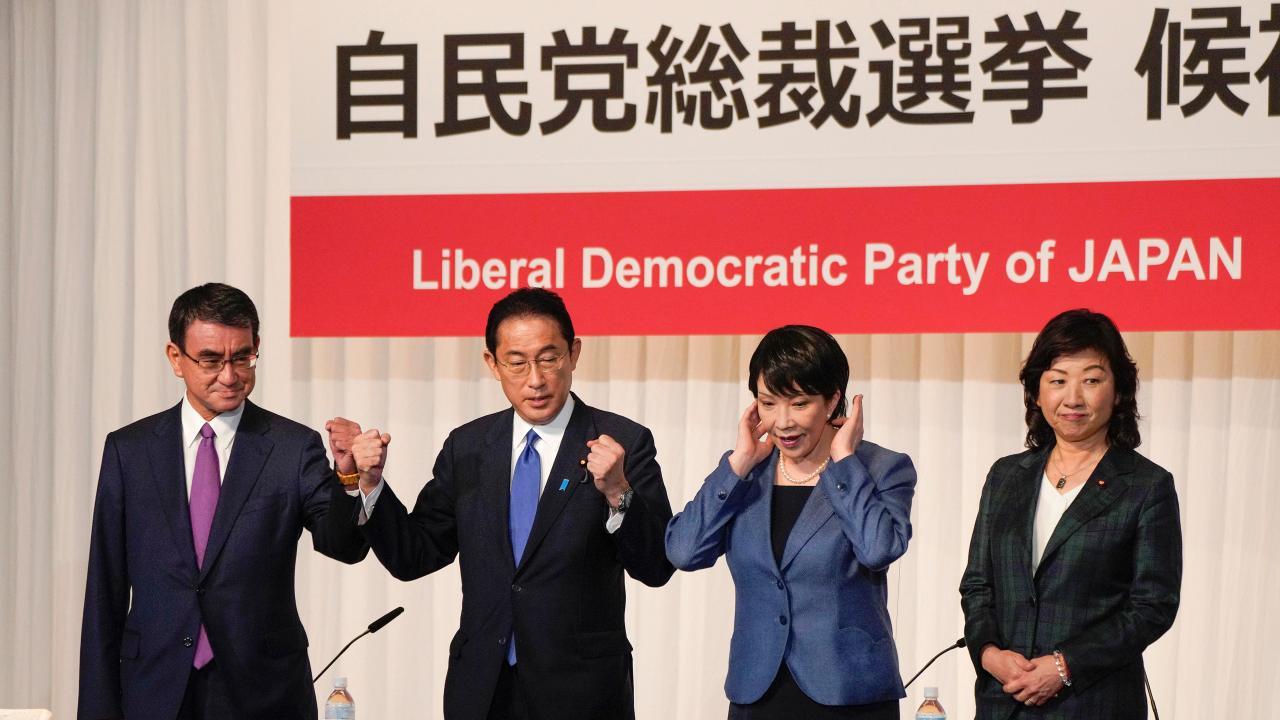 自民党総裁選立候補者4人(写真:代表撮影/ロイター/アフロ)