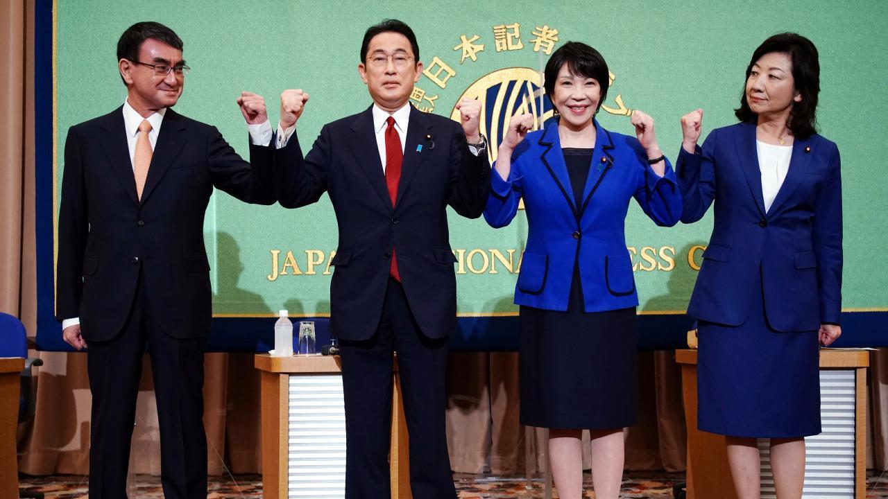 2021 自民党総裁選 公開討論会(日本記者クラブ)(写真:代表撮影/ロイター/アフロ)